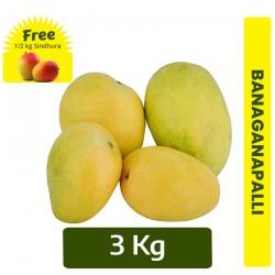 Buy 3Kg Banaganapalli Mango + FREE 1/2 Kg Sindhura mango Online In Chennai