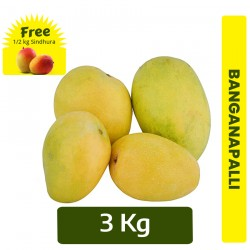 Buy 3Kg Banganapalli Mango + FREE 1/2 Kg Sindhura mango Online In Chennai