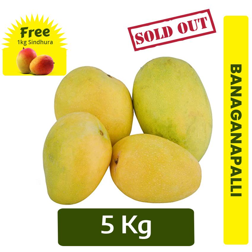 Buy 5kg Banaganapalli Mango + FREE 1 Kg  Sindhura mango Online In Chennai